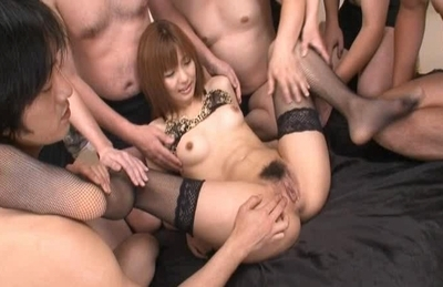 Kotone Aisaki Asian model gets into a gangbang and creampied