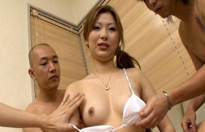 Shiho Kanou Hot Japanese model gets into a gangbang