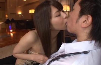 Hot Japanese AV model Mikan Kururugi licks his body sucks cock