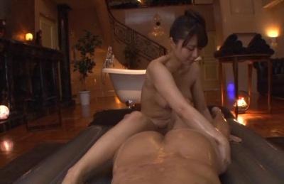 Lovely milf Mikan Kururugi gets oiled and licks ass of her lover
